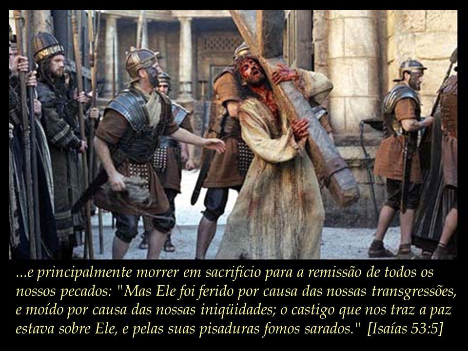 ...e principalmente morrer em sacrifício para a remissão de todos os nossos pecados: Mas Ele foi ferido por causa das nossas transgressões, e moído por causa das nossas iniqüidades; o castigo que nos traz a paz estava sobre Ele, e pelas suas pisaduras fomos sarados. [Isaías 53:5]